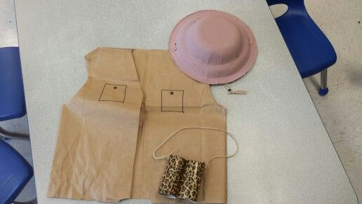 Kindergarten safai -brown grocery bag vests -paper plate and bowl safari hats  - toilet paper rolls and duck tape binoculars The kids loved them!!!