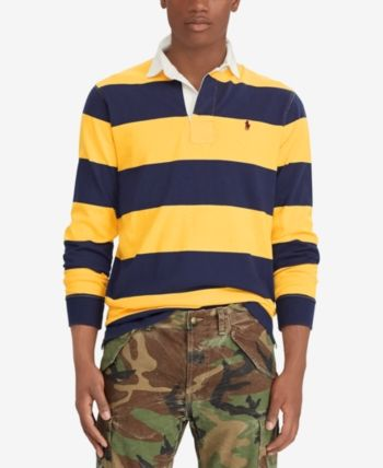 Polo Ralph Lauren Men/'s Yellow//Navy Stripe Iconic Rugby Classic Fit Polo Shirt