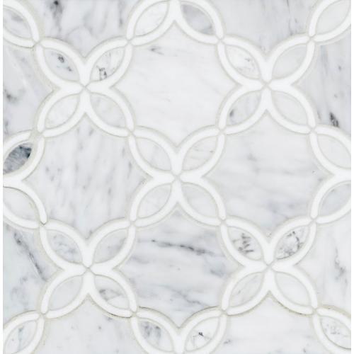 Bianco Carrara Thassos Blossom Marble Mosaic In 2020 Marble Mosaic Bianco Carrara Floor Decor