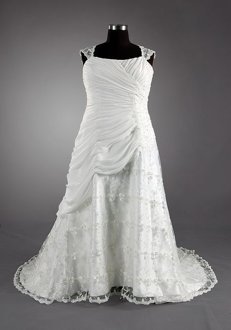 A-line Bateau Sleeveless Chapel Train Satin Lace Chiffon Wedding Dress With Applique Beading Free Shipping$215.00