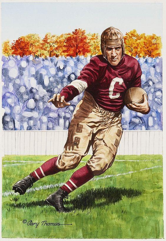 "Joe Guyon original artwork for ""Goal Line Art"" by Gary Thomas."