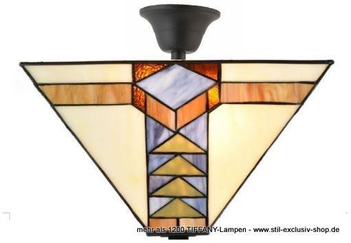 EXTRA Modell! Klassische TIFFANY Decken Lampe (mit Abstand)PYRAMIS. Ca.  34cm Hoch. 37 X 37cm. 2 X E 14, Je 40W. Gepflegte Tiffany Deckenlampe Mit  Einem ...