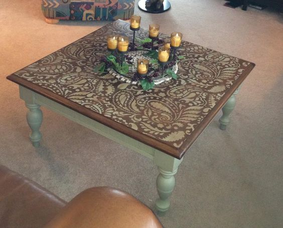 Awesome Paisley Stenciled table! Theresa's very first stencil project using the Paisley Allover stencil to refinish a beat up coffee table.