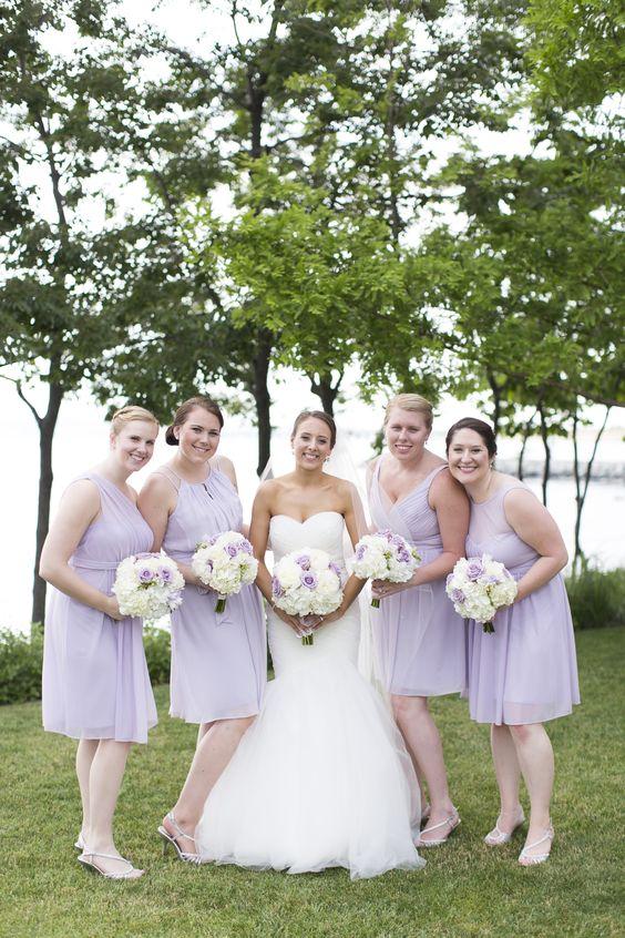 Lavender Knee-Length Bridesmaid Dresses