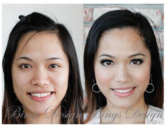 Without makeup she is already pretty. To transform her from pretty to gorges, we first applied customized concealer to cover her active acne then utilized Camouflage airbrush foundation to give her a nice clean look.   Eye shadows were barely used. Instead, we put dramatic false eyelashes on her to create a vivid but clean and natural look.  She looks stunning already even without her hair done on the after makeup picture!