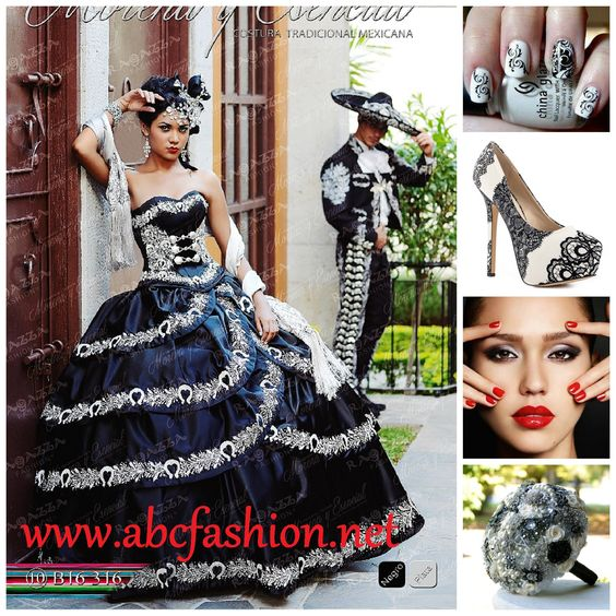 Black and Silver Mariachi Themed Quinceanera Dress by Ragazza ...