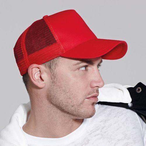 Mens-Beechfield-Retro-Snapback-Adjustable-Half-Mesh-Trucker-Cap-Baseball-Hat
