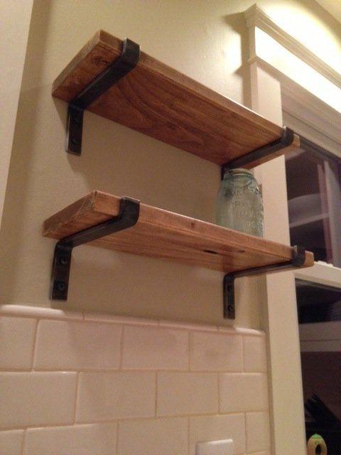 Custom Made Wood Shelves With Metal Brackets
