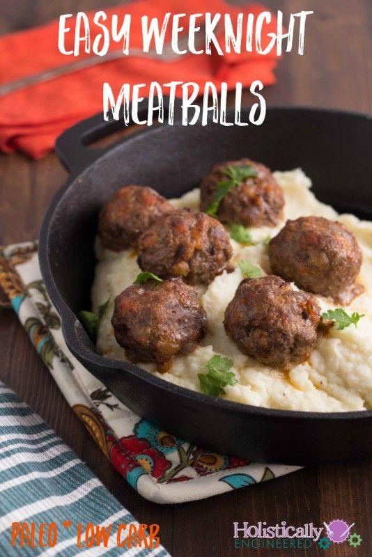 Easy Weeknight Meatballs #paleo #lowcarb
