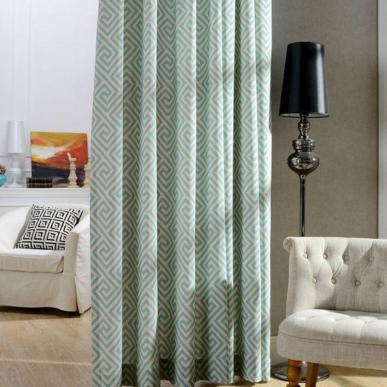 Modernos cortinas da cozinha do listrado geométrica painéis de cortina divisórias da sala de cortinas Grommet top cortinas decorativas B16117