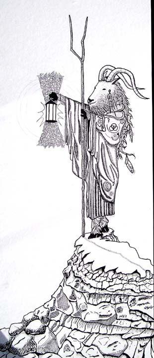 """Goat Man""  Original Pen & Ink by Steven Harris"