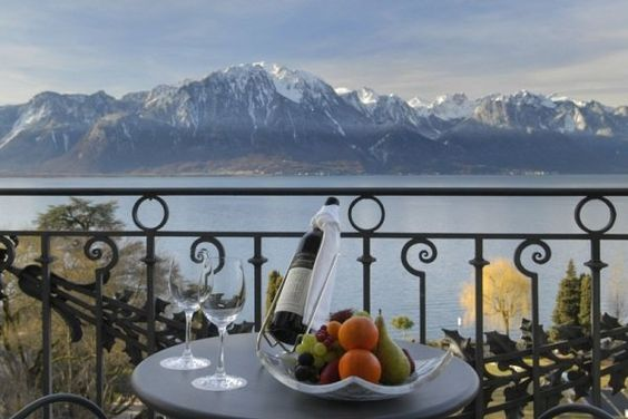 What about this view of the Alps from the Lake View Suites at Fairmont Le Montreux Palace in Montreux, Switzerland!!!