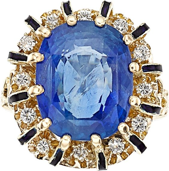 Image of Sapphire, Diamond, Enamel, Gold Ring. ... Estate JewelryRings   Lot #54144   Heritage Auctions