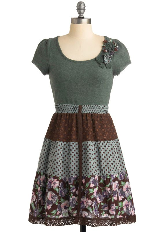 Marble Collection Dress - Polka Dots, Floral, A-line, Multi, Flower, Lace, Casual, Cap Sleeves, Spring, Fall, Short