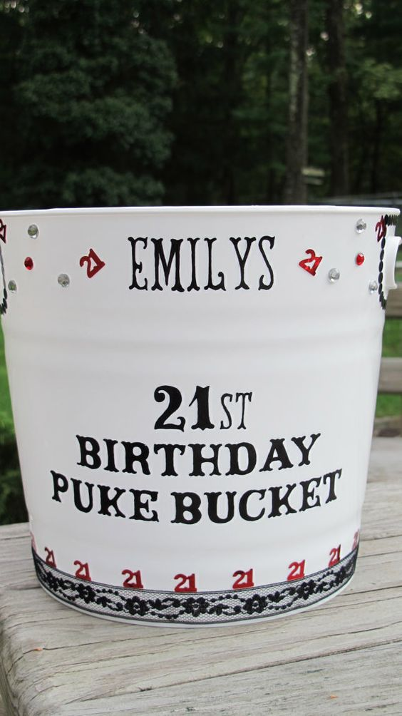 Personalized 21st Birthday Puke Bucket by JayniesCloset on Etsy, $30.00