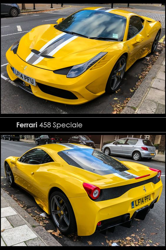 A Ferrari 458 Speciale In The Sloane Square Area Impossible To Miss This Canary Yellow Supercar With Raci Prestige Car Ferrari 458 Speciale Interior Designers