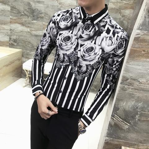 Men Blouses Tops rinting Slim Fit Long Sleeve Nightclub Korean Casual Shirts New