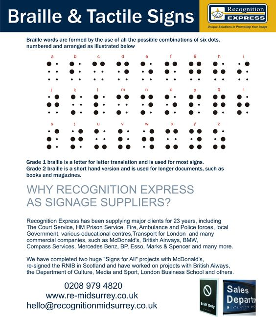 Braille and tactile signs from Recognition Express