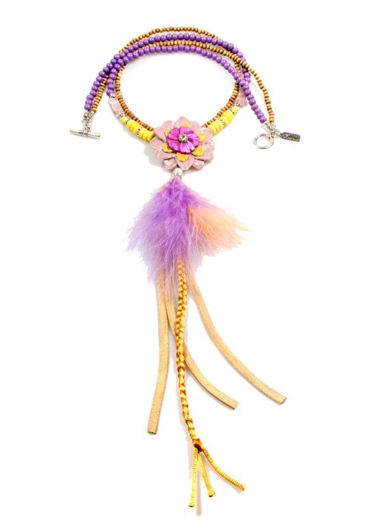 Long necklace Ibiza style in purple and yellow, with feathers, braid, suede fringe, leather flower - OOAK handmade jewelry - native American