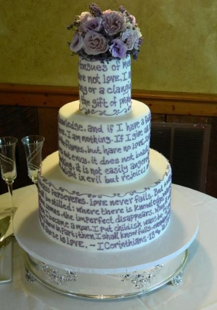 3 tier round white wedding cake with text i would use the text of love poems or romantic. Black Bedroom Furniture Sets. Home Design Ideas