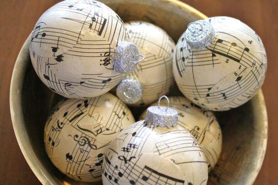Vintage Sheet Music Ball Ornament by adiamondinthestuff on Etsy