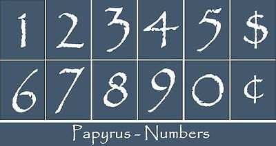 Primitive Stencil~Numbers-Papyrus~House Address Mail Box Phone Sign Calendar