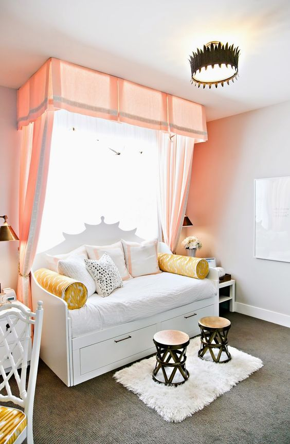 design dump: ORC finale: a teen bedroom in peach + mustard: