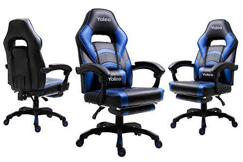 Yoleo Chaise De Bureau Fauteuil De Jeu Avec Roulettes Dossier Inclinable En Pu Chaises De Gaming Pivotantes Ergonomiques Chaise De Je In 2020 Gaming Chair Chaise Games