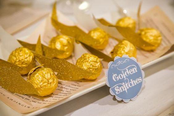 Potter frenchy party - wedding shower - une fête de mariage sur le thème de Harry Potter - décoration - Poudlard - Hogwarts - candy bar - vif d'or en chocolat - chocolate golden snitch