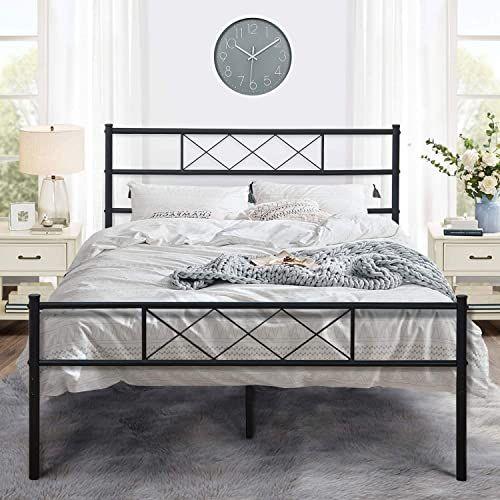 New Vecelo Metal Platform Bed Frame Mattress Foundation Headboard