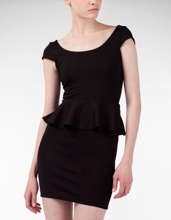 Vestido peplum punto roma. Never too many black dresses! #StradivariusSpain