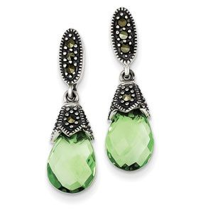 Sterling Silver Marcasite And Green CZ Earrings (QE2989) $66, Parker Jewelers. 856-935-3400. Call to order.