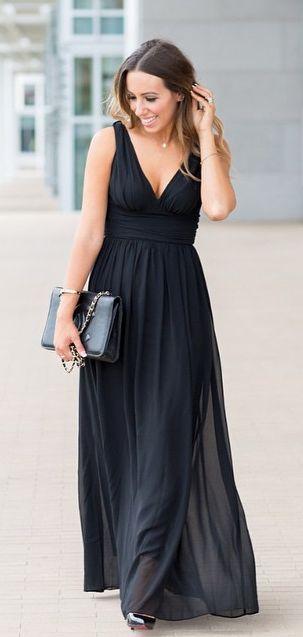 Black v-neck long prom dress black evening dress party dress ...