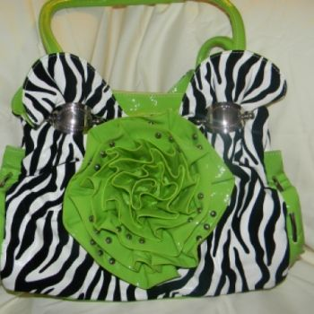 Green Flower and Zebra Purse at the Shopping Mall, $40.00 (USD)