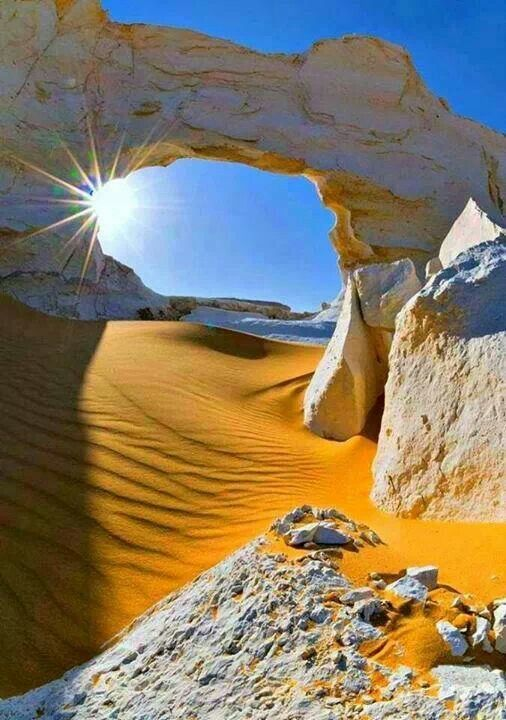 The White Desert ~ is a national park of Egypt and is located north of the town of Farafra. The desert centerpiece is its rock colored from snow white to cream color. #Travel #Wanderlust