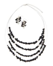 Black Chip Necklace and Earrings Set - Accessorize like a fashionista in this set featuring a four-row illusion necklace adorned in vibrant black chips and matching cluster drop earrings.