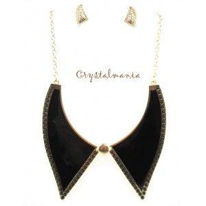 Set de collar y artes en tono negro estilo 3059