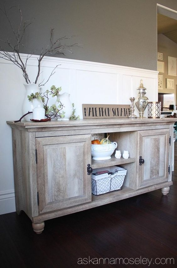 Holiday entertaining tips and beautiful buffet from How to decorate a sideboard in a dining room