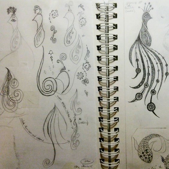 Stylized pencil drawing, sketch of peacock bird. By Shalom Schultz Designs.