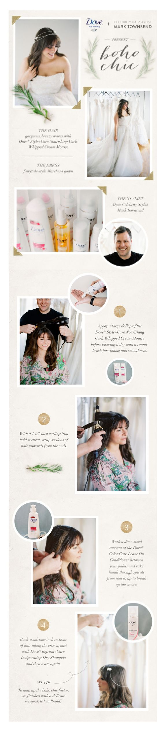 Step-by-step tutorial of Dove® Hair celebrity stylist Mark Townsend's Boho Chic wedding day style! — Photography by Anne Robert Photography / annerobertphotography.com, Hair Styling by Mark Townsend / www.starworksartists.com/hair/mark-townsend/bio, Hair Products by Dove® Hair / www.dove.us/Products/Hair/default.aspx, Location by Gabriella New York Bridal Salon / gabriellanewyork.com, Makeup by Sharon Becker / sb-beauty.net