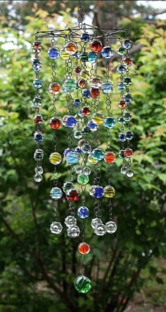 15 Ways To Turn Glass Marbles Into Home Decor And More Diy Marble Crafts Diy Wind Chimes Wind Chimes