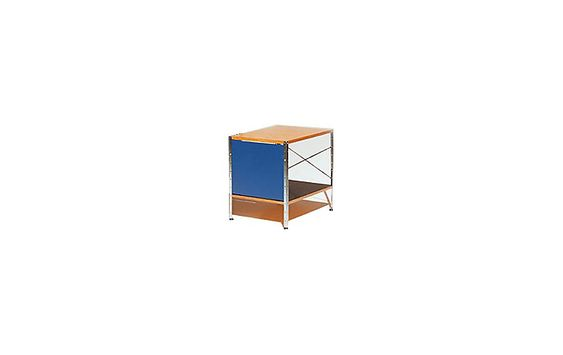 """Eames® Storage Unit, 1x1 H 20.5"""" W 24.5"""" D 16"""" $750 Zinc-coated steel supports and perforated panels; nylon foot glides; molded shelves; painted hardboard case sides and back panels. The """"multi"""" color scheme includes birch fronts and a blue side panel. The """"natural"""" color scheme includes birch fronts and a tan side panel. The shelves in both color schemes are black. The nylon glides are easy on floors."""