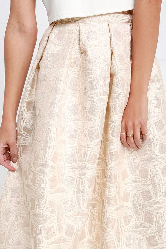 Beauty in Abundance Light Gold Jacquard Midi Skirt at Lulus.com!