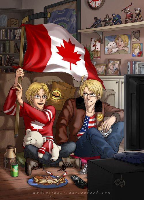 Hetalia ~~~ North American Bros. hanging out at Canada's house. I wonder where Mexico's Pictures are?