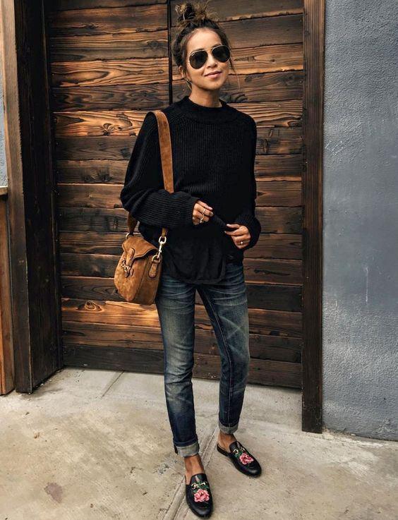 Marron + noir + jean brut = le bon mix (photo Sincerely Jules):