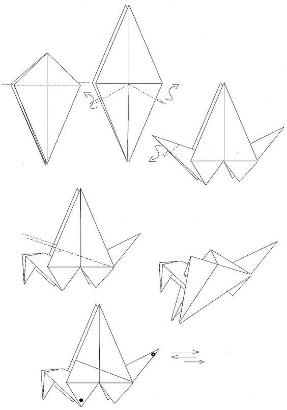 Plan origami grue qui bat ailes origami kirigami pinterest origami - Tuto grue origami ...