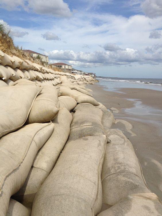 Sand bags. Ocean isle beach, NC 2013. Beach erosion.