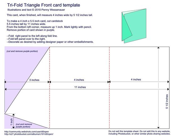 Tri fold triangle front card template 4 x 5 1 2 for Tri fold tent card template