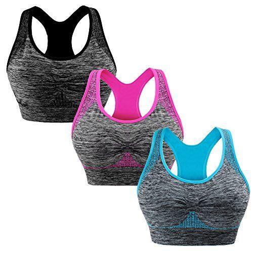 Damen Nahtlos Push Up Sport-BH Bustier Top Fitness Yoga Gepolsterte Unterwäsche