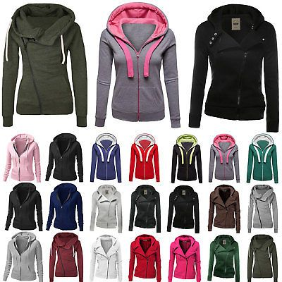 Plain Women Big Size Fleece Zip Up Hoody Jacket Sweatshirt Hooded Zipper Top